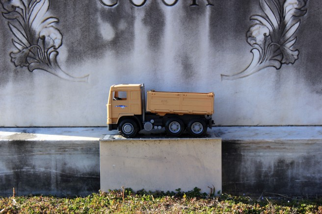 Not a child's grave. Maybe they just really liked dump trucks.